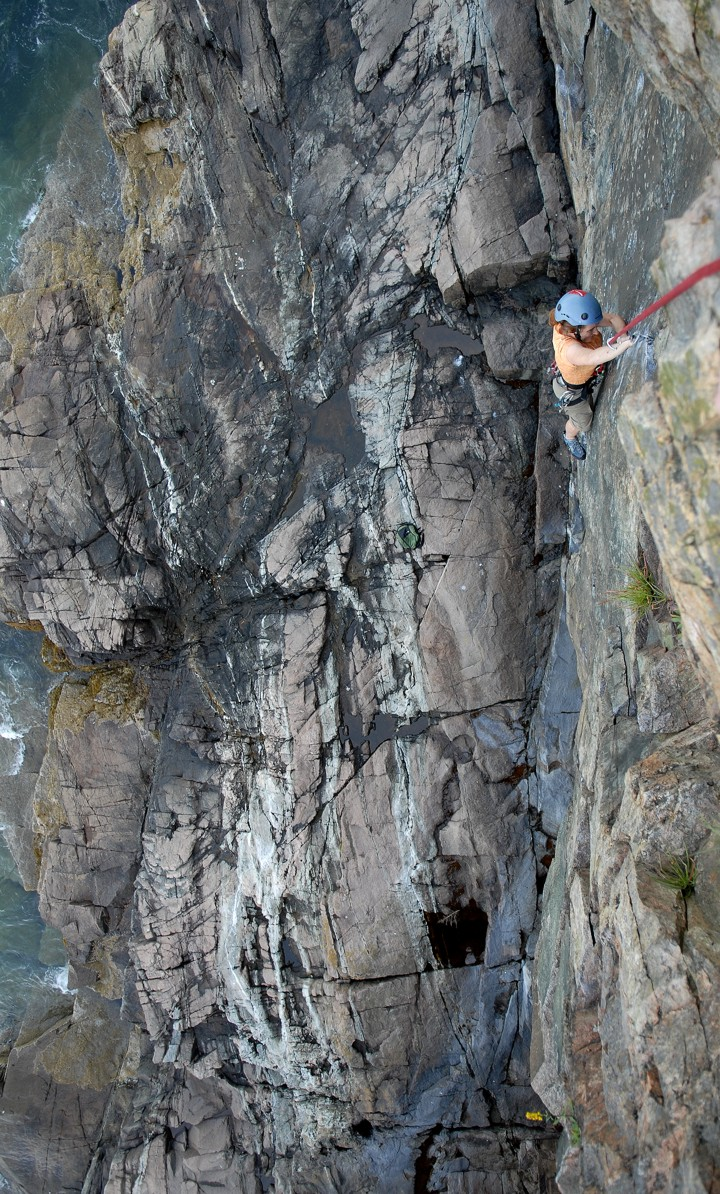 Following a beautiful crack above the sea, perhaps one of the best routes at Otter Cliffs
