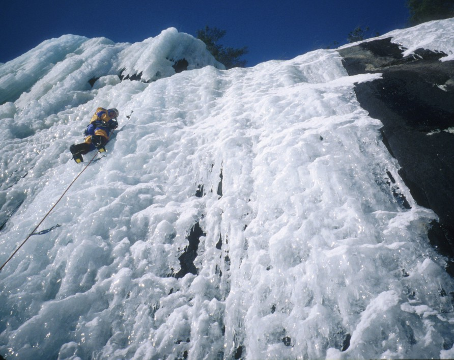 Thin steep ice on Bushido, Poko