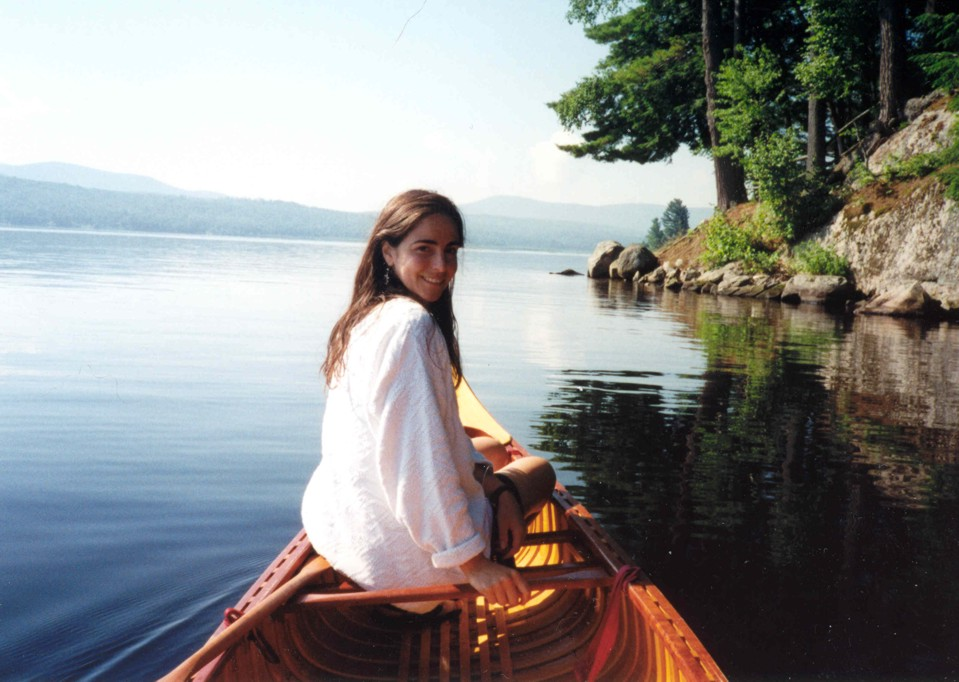 Lucie in the canoe near Cragsmere on Upper Chateaugay Lake