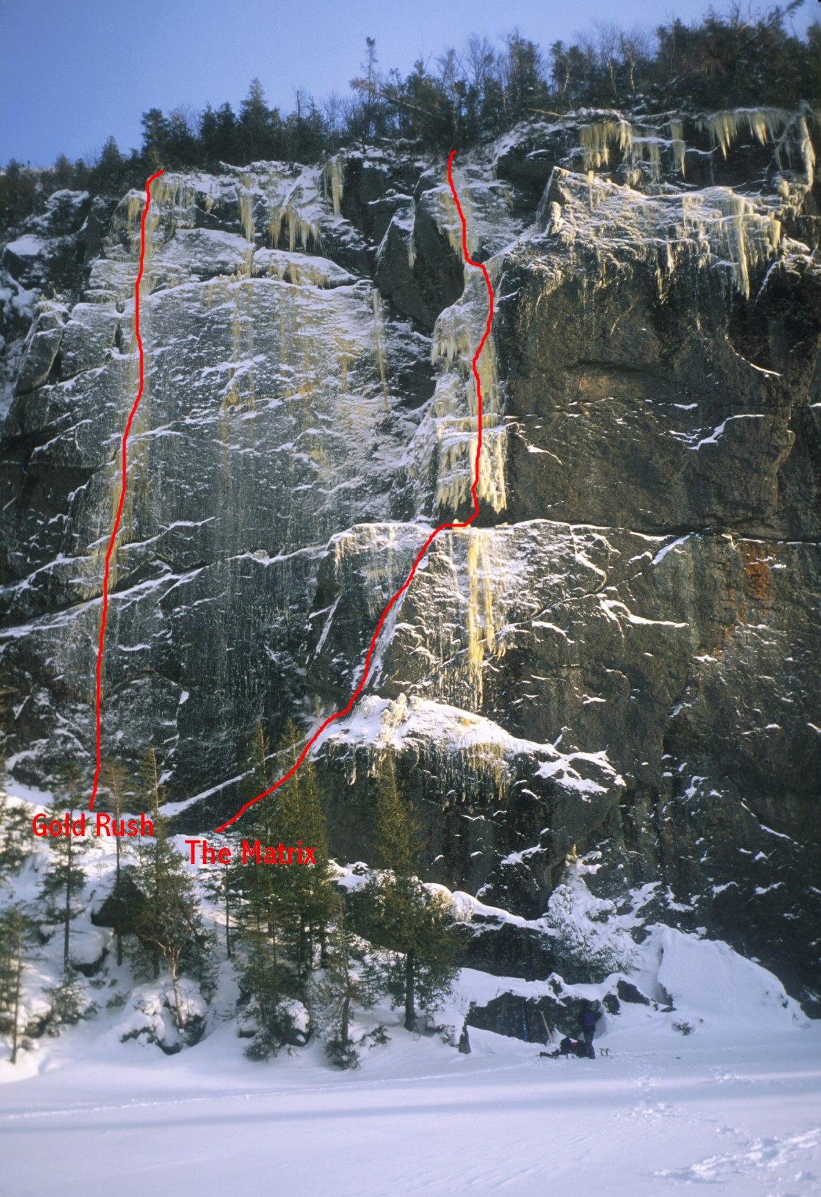 Topo of a few routes at Avalanche Lake