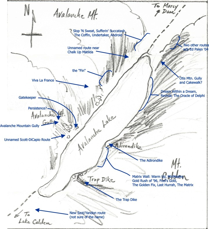 Tad's map of Avalanche Lake showing the routes