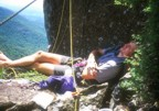 Napping on Lunch Ledge, three pitches from the top