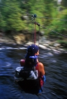 Crossing the river using a Tyrolean traverse