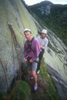 Simon and Lori at the belay on top of pitch 1; the lovely yellow lichen is characteristic of the south face