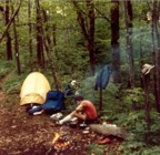 Tracy at camp somewhere in Tennessee; by this time, we ditched the bivys in place of a prototype Early Winters single-wall Gortex tent