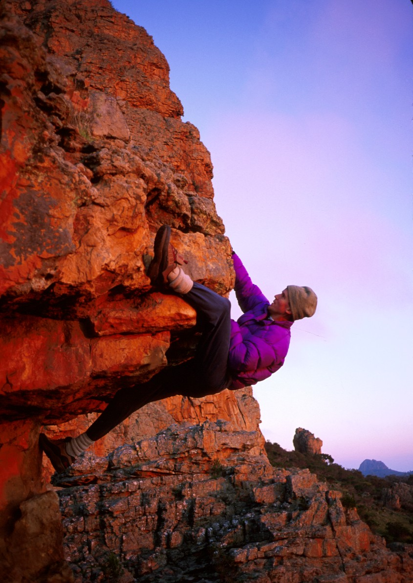 Bouldering in the early morning light
