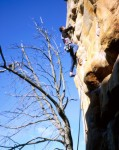 Jim at the crux of Chinese Algebra, one of the hardest routes we did at Arapiles