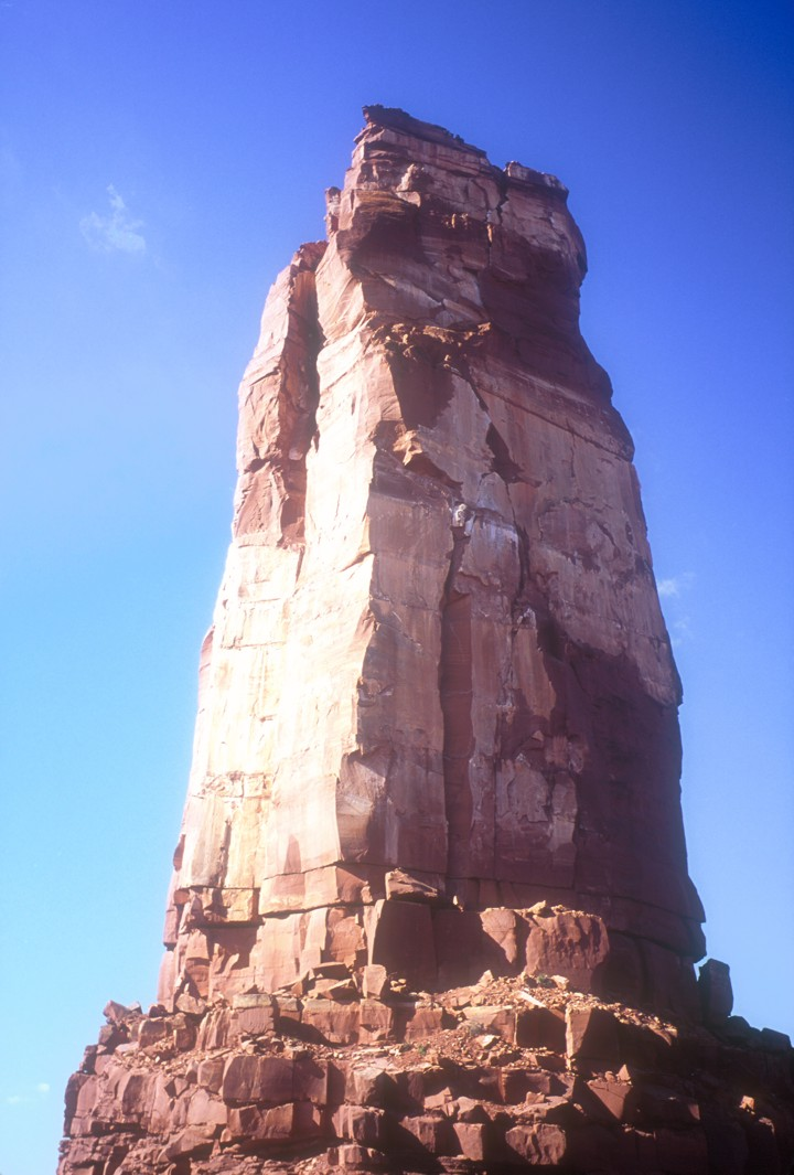 A view of the north face of Castleton Tower; the North Chimney climbs the depression on the sunny side of the tower
