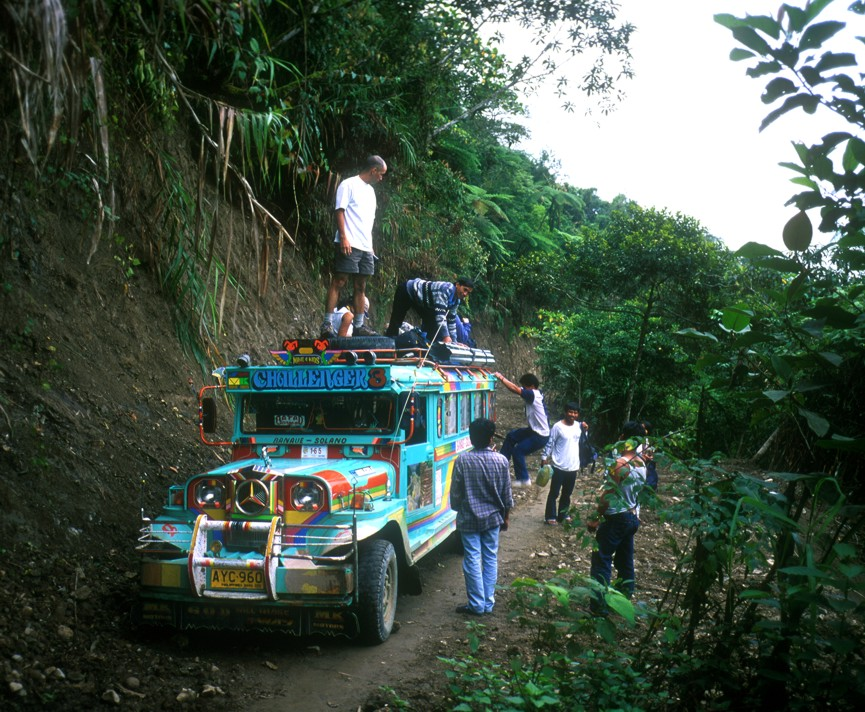The jeepney on the way to Batad became stuck, so we all grabbed our stuff and continued on foot