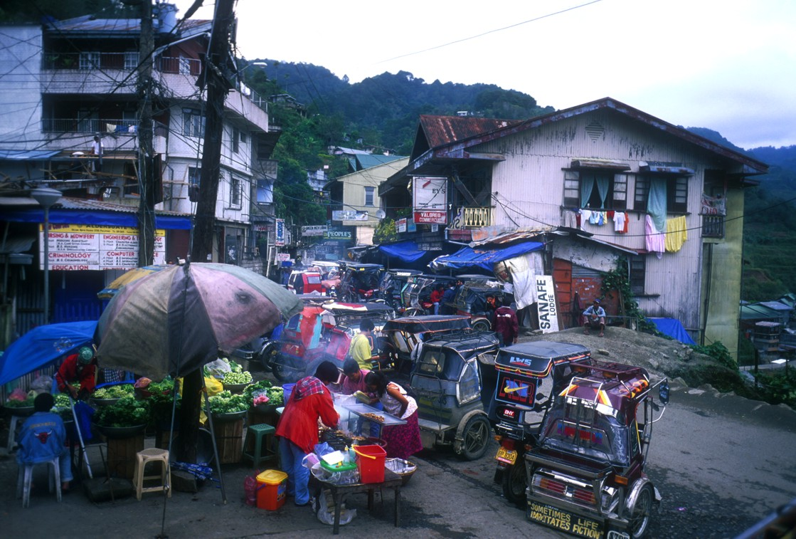 View of a sea of tricycles taken from the top of the jeepney as we passed through the town of Banaue on our way to Batad