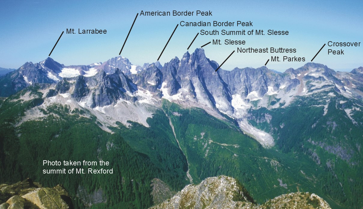 Slesse panorama with labels; taken from the summit of Mt. Rexford