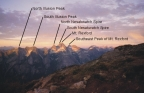 Rexford mountain range with labels, taken from the bivy on the Northeast Buttress of Mt. Slesse