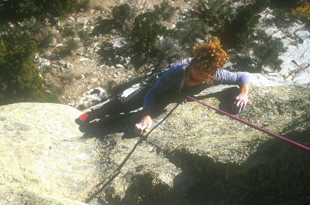 Michelle makes the weird crimpy layback with the palm dyno at the end of the second pitch