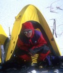 Martin in front of his tent at Camp II