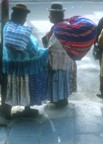 Women in traditional dress on the streets of La Paz