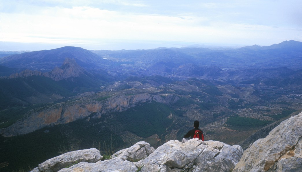 Looking east from the summit of the Divinio, showing the lower Sella valley and the Mediterranean Sea beyond