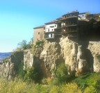 Houses built over the cliff in the old section of Cuenca