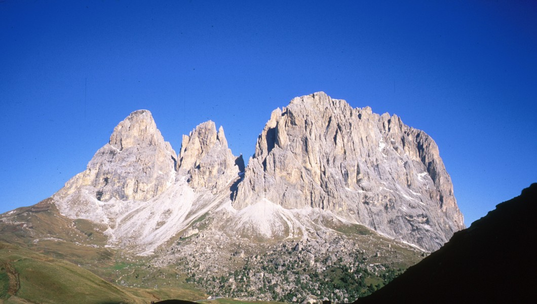 Sassolungo towers from the height of the pass near the Sella towers