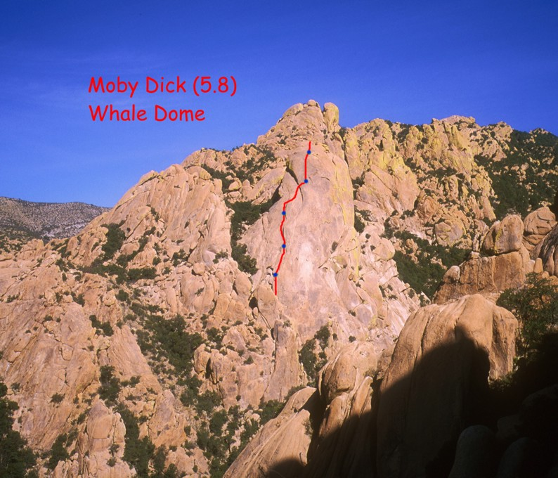 The Whale Dome with the route Moby Dick labeled