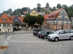 The main square of Hohnstein; Bernd Arnold's sports shop is on the right