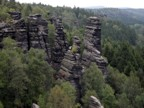 Climbers dot the various towers in the Bielatal region