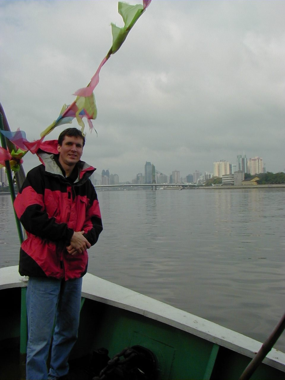 Jim on ferry going up the Pearl River