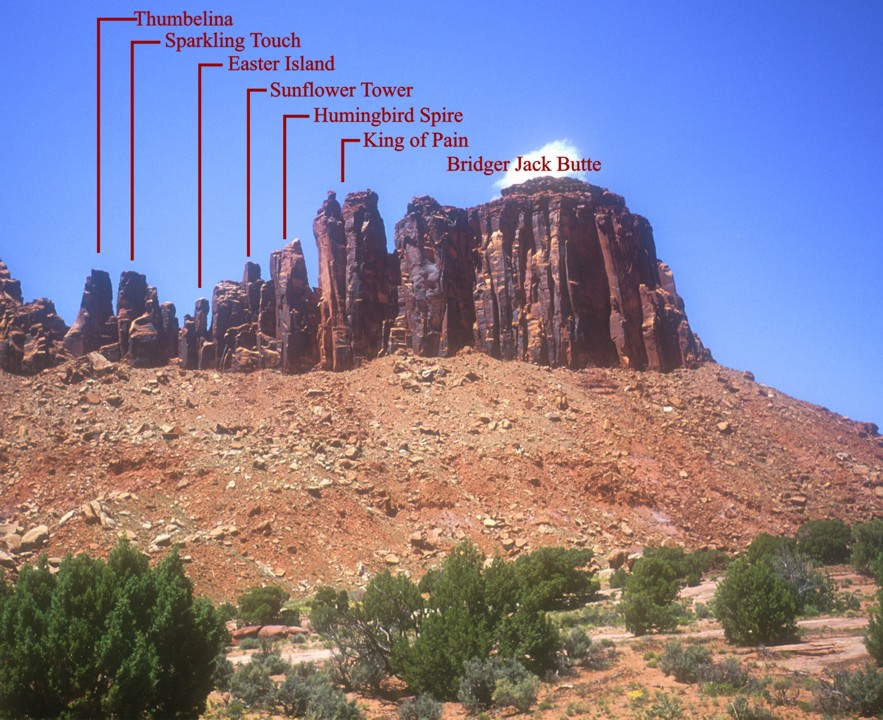 The Bridger Jack Mesa with all the towers labeled