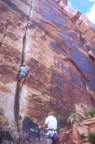 Starting out on Generic Crack; the crux of the route are the two pods just above