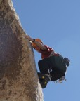 Weird layback moves up the arete of Garden Angel