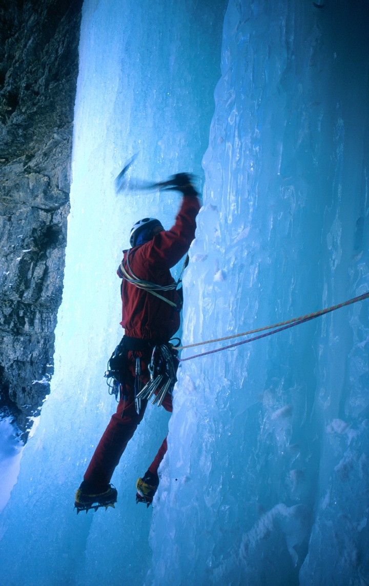 Swinging a tool on the final steep pitch