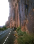 Roadside climbing on Potash Road…not the most aesthetic climbing area