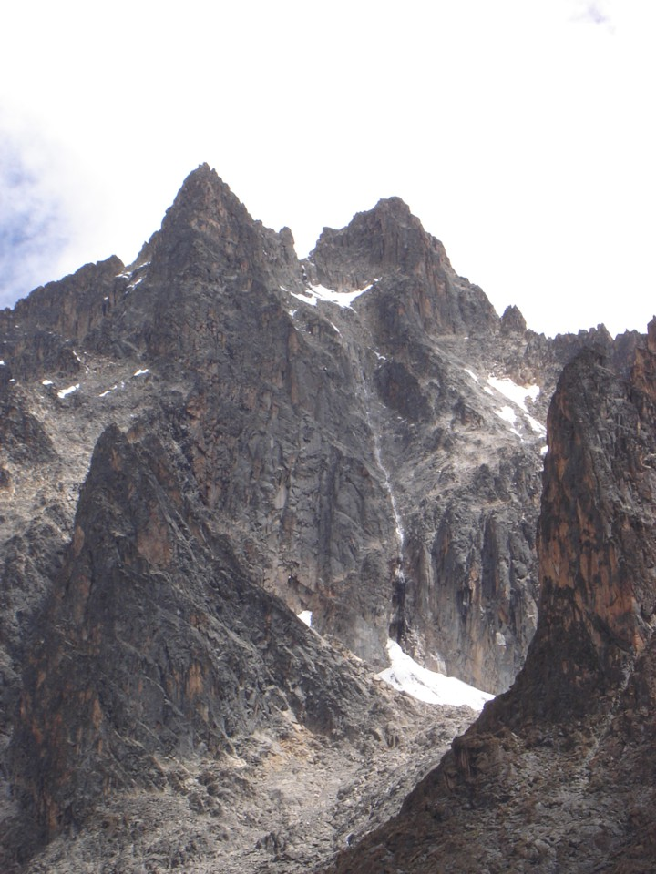 Diamong Ice Couloir and the twin summits of Mt. Kenya