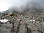 Stormy weather moves in after setting up camp near the Austrian Hut