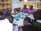 Lucie taught block printing at the school. This is a class of mostly deaf children.
