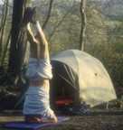Doing a headstand to prepare for the day
