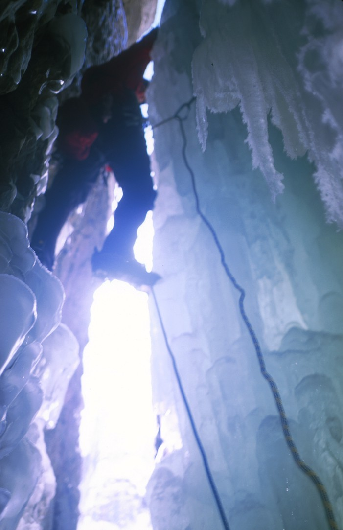 Leave the security of the cave on the third pitch; the ice is very unstable here