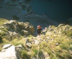 Nikos arriving at the first belay; the Petit Grepon gets sun very early in the morning, much earlier than Sky Pond