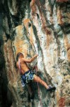Martin (again) on the crux of the first pitch of Ao Nang Tower