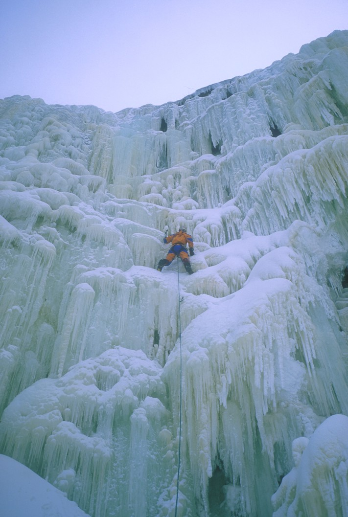 Pretty easy climbing, but the ice is unconsolidated and protection is sparse