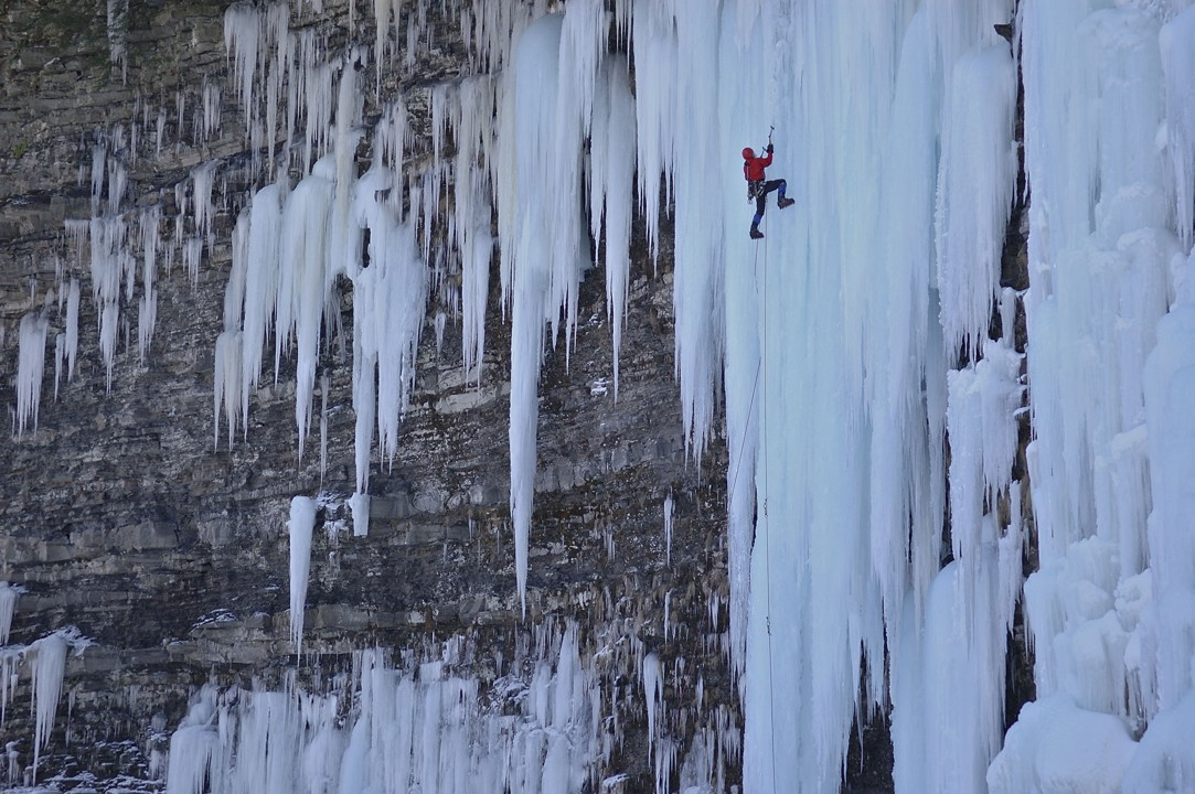 Spectacular climbing on the 100' free standing ice column