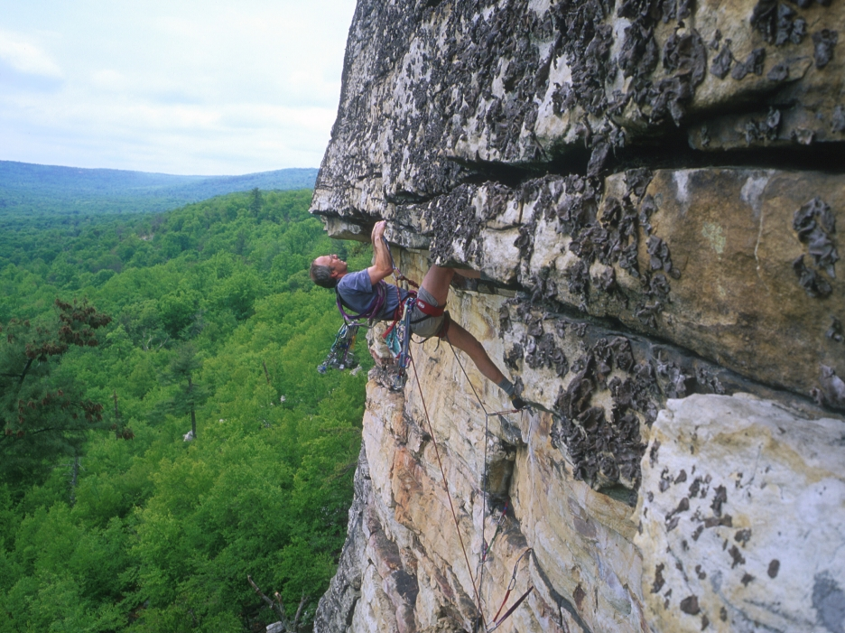 Leading a first ascent of a route to the right of Resistance (5.11?)