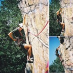 Sequence showing climbing the crux overhanging wall of the second pitch of Directissima