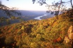 Looking north from the top of the cliff over the fall foliage with the Tennessee River in the background