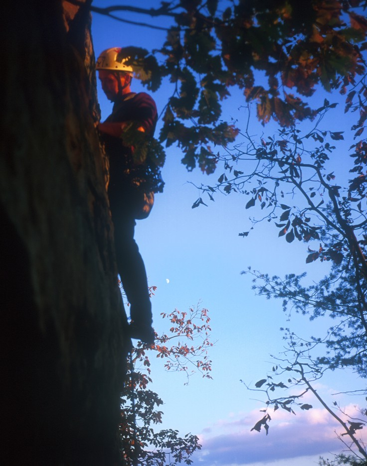 Sunset and still can't get enough; Tad climbs the runout arete of Crash Position