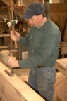 Calvin prepares a mortise in the shop