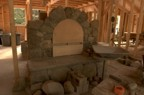 The arch of the fireplace opening, with the wood support in place