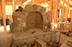 Fireplace arch with firebrick in the back