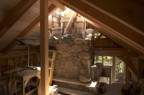 Chimney from the mezzanine with the fan airspace and wood stove flue