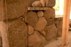 Closeup of the stonework around the cubby in the kitchen