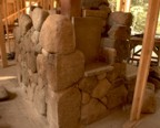 Stonework around the cubby in the kitchen